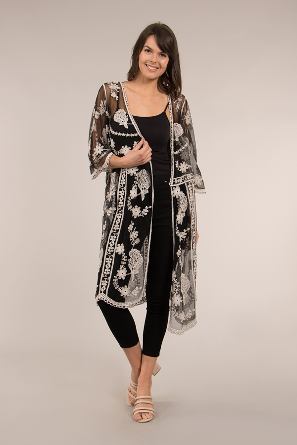 Sheer Embroidered Cardigan