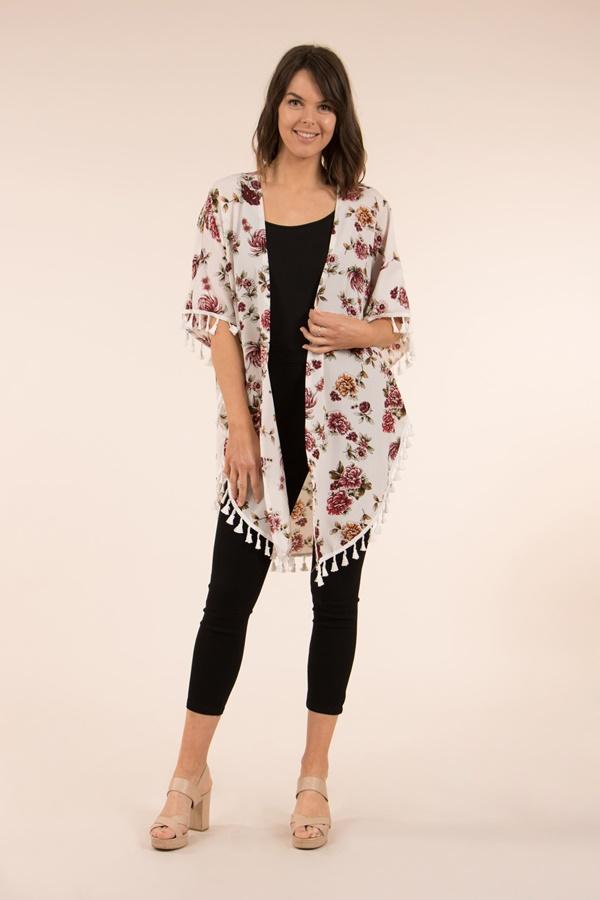 Floral Tassel Trim Kimono