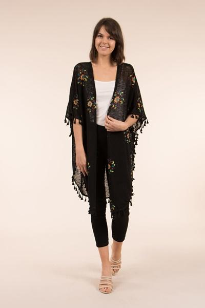 4c10854bec1 Tassel Trim Kimono