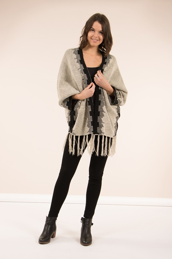 Tassel Knit Kimono Cardigan