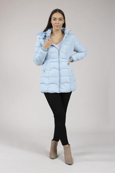 Faux Fur Trim Puffa Coat