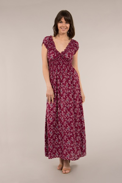 Printed maxi dess with shirred waist and neckline