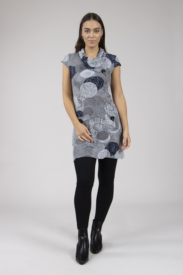 PRINTED ROLL NECK TUNIC DRESS