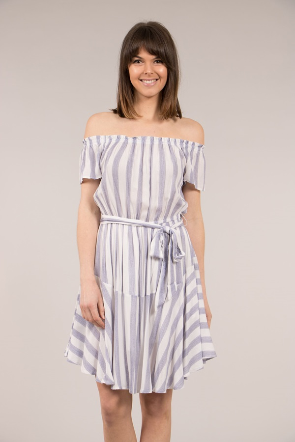 Stripe Off Shoulder Dress