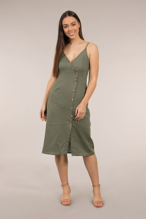 Strap Dress with Button Front