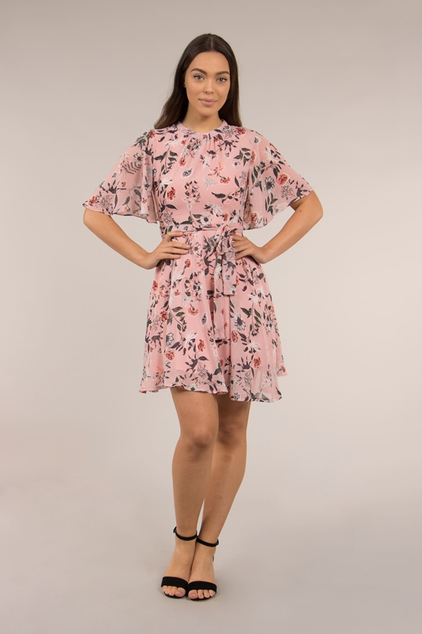 Short Sleeve Floral dress with Waist tie