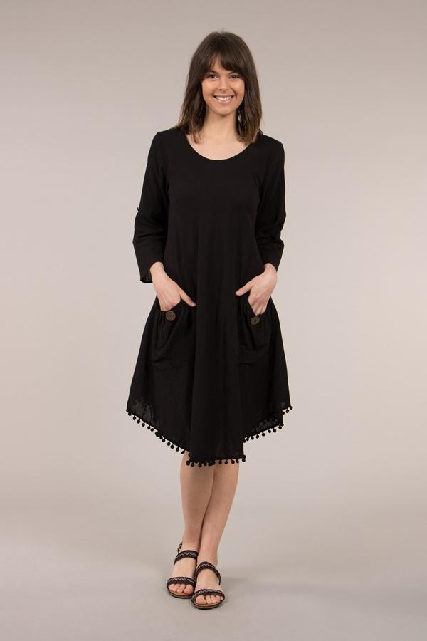 Relaxed Dress with Hem Pom Pom