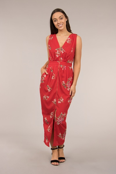 PRINTED ZIP FRONT MAXI DRESS