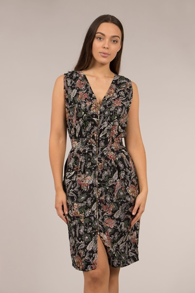 PRINTED ZIP FRONT DRESS