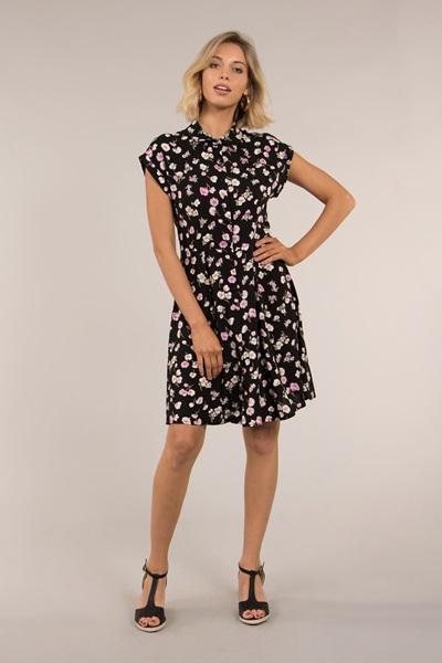Cap Sleeve Floral Print Shirt Dress