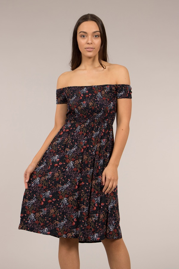 Floral Printed Shirred Dress