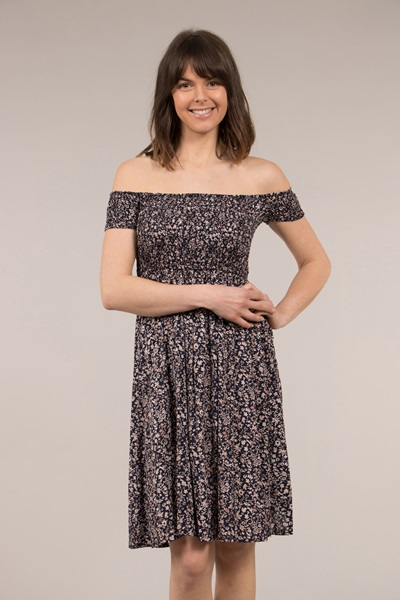 Ditsy Printed Shirred Dress