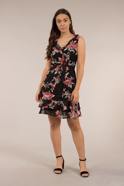 Sheer Floral Tea Dress