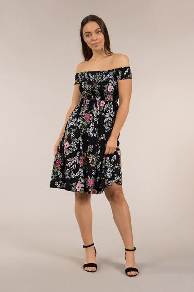 Shirred off Shoulder Dress