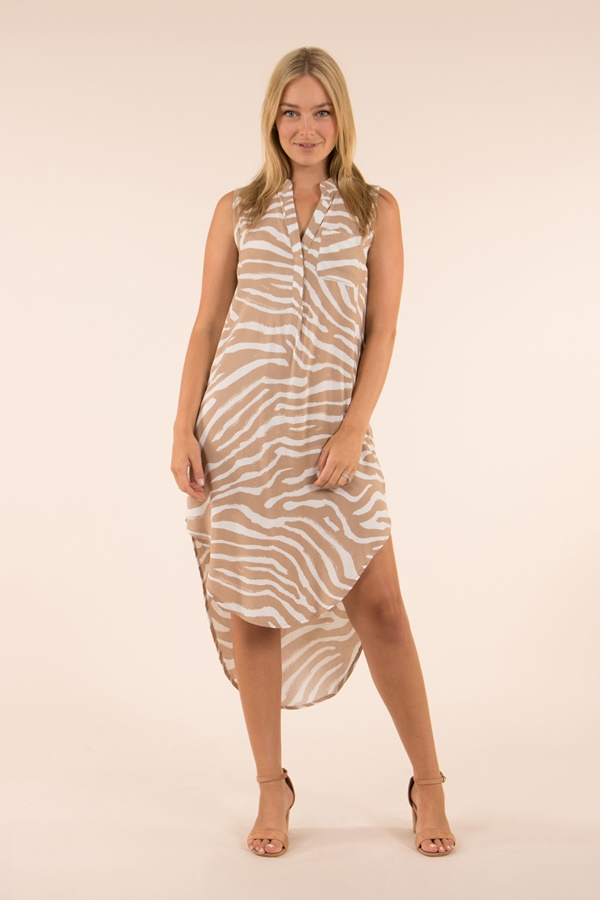 Sleeveless Printed Shirt Dress