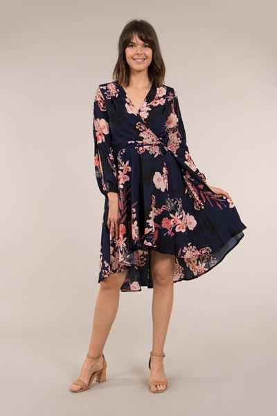 SPLIT SLEEVE PRINTED WRAP DRESS