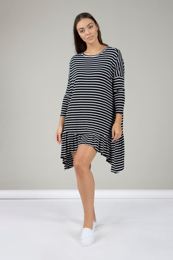 Striped Smock Midi Dress