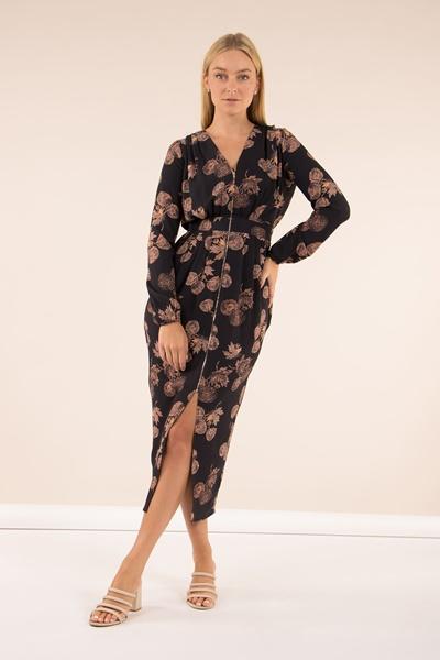 Printed Zip Front Maxi Dress