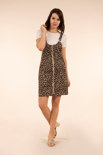 Animal Print Dungaree Dress