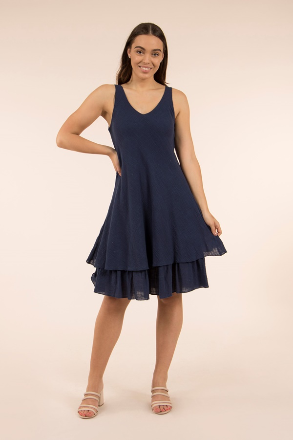 LAYERED SOLID DRESS