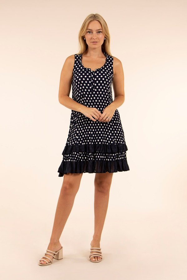 Polka Dot Crinkled Sun Dress