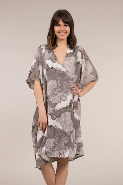 Bird Print Kaftan Dress