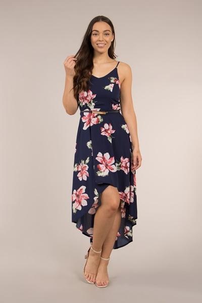 Floral Slip Dress with Mullet Hem