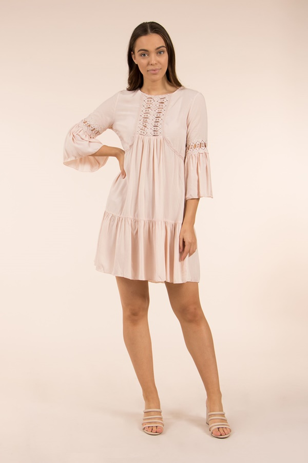 Lace Front Smock Dress