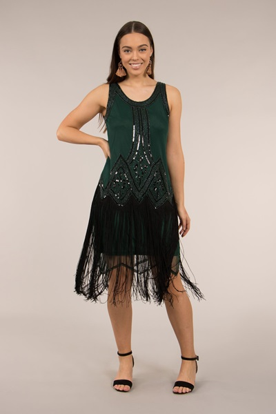 FRINGE HEM SEQUIN DRESS