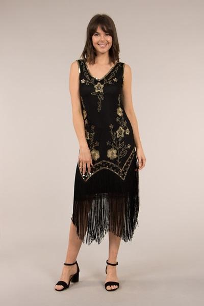 Sequin Dress With Fringe Hem