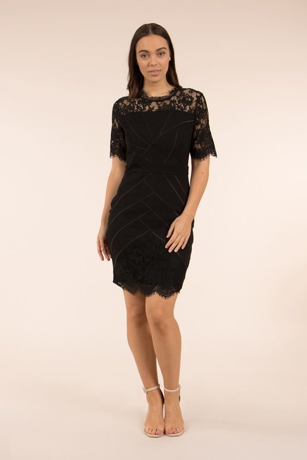 Lace Yoke Bodycon Dress