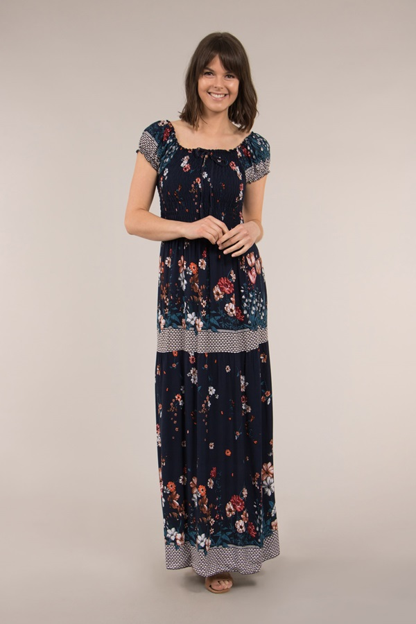 SHIRRED BODICE MAXI DRESS