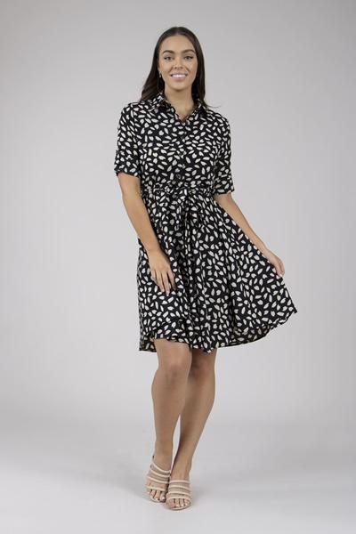 4220b163a8f95 Leaf Print Shirt Dress