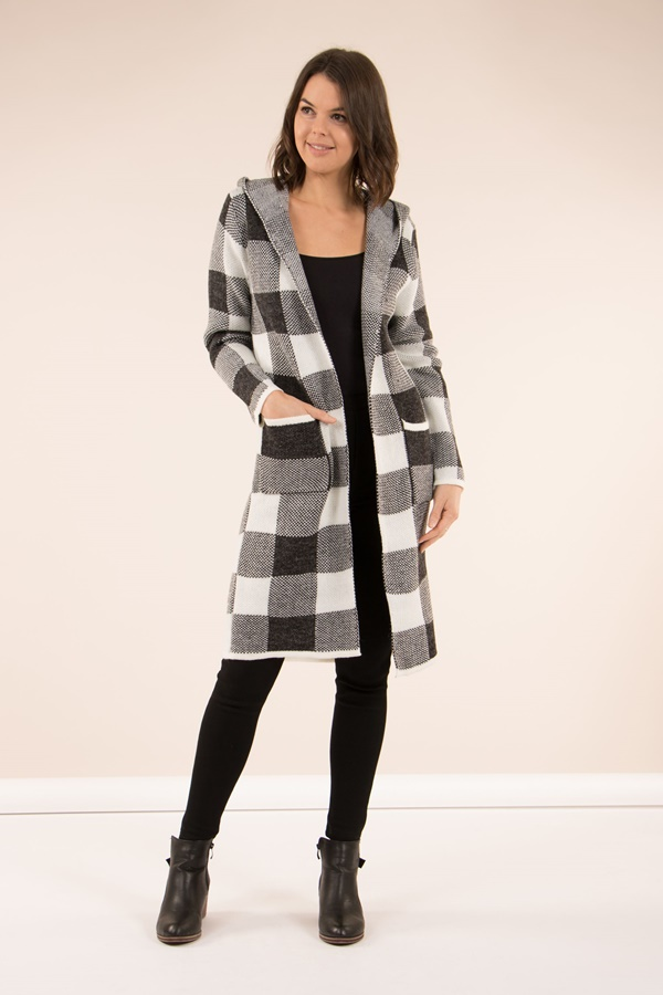 Checked Hooded Cardigan