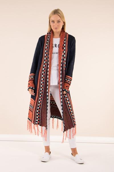 Multicolour Long Tassel Cardigan