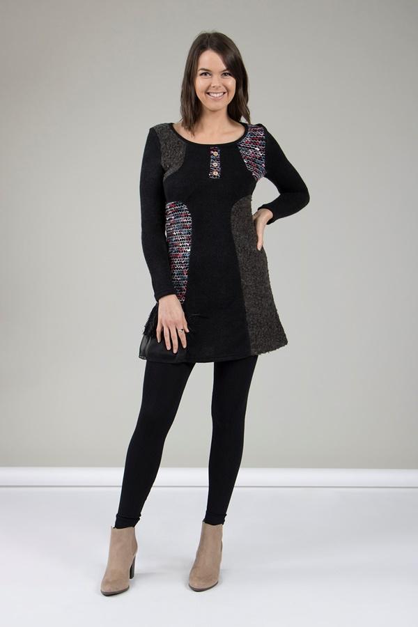 BLACK PATCHWORK KNIT DRESS