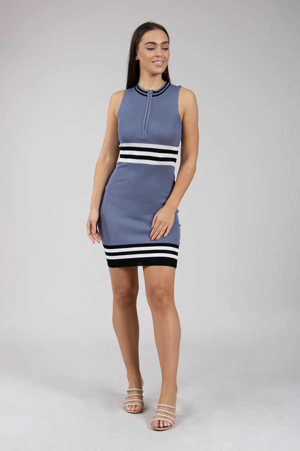 Nautical Striped Knitted Dress