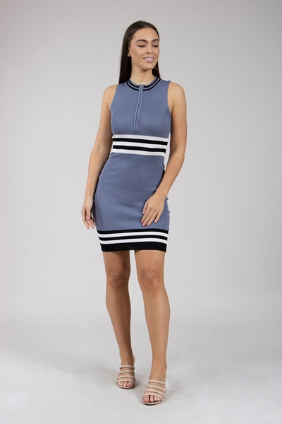 f3c1158c31d2 Nautical Striped Knitted Dress