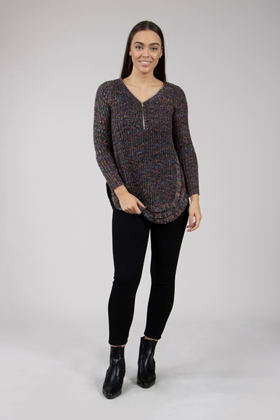 Zip Front Knitted Pullover