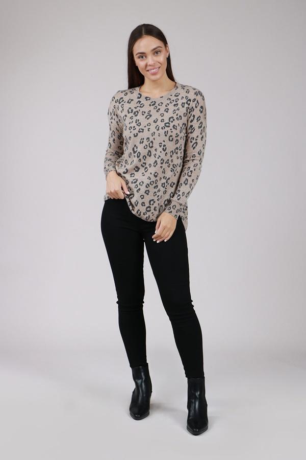 Long Sleeve Animal Print Knit Pullover