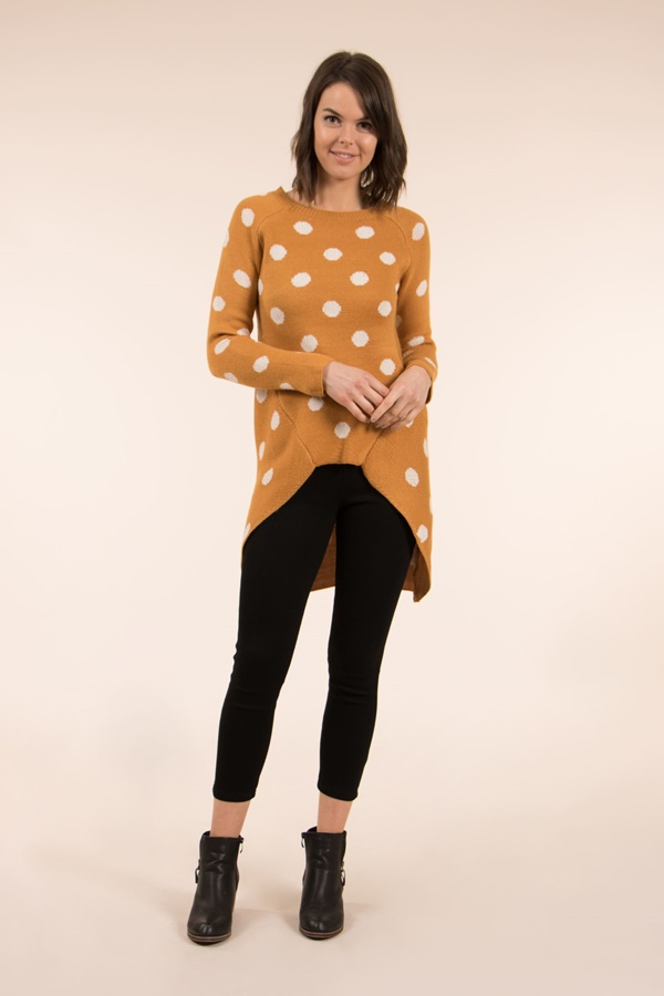 POLKA DOT DIP BACK JUMPER