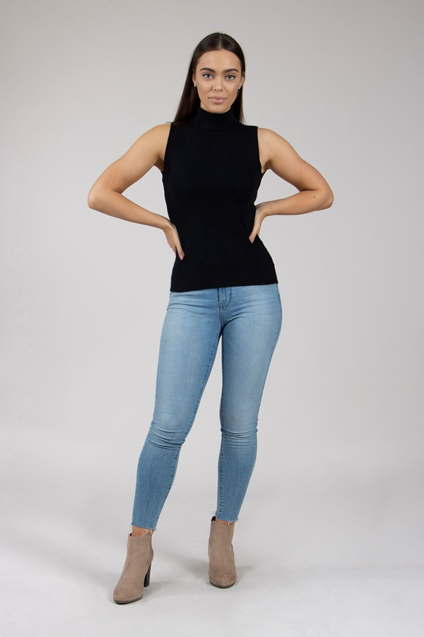 Roll neck sleeveless jumper