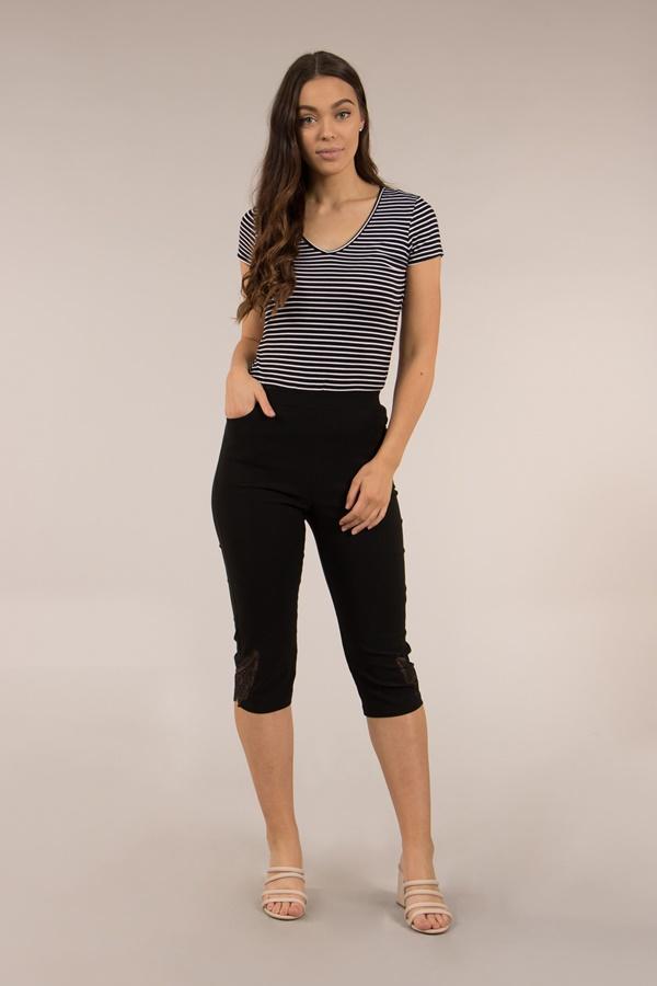 Lace Trim Cropped Pants