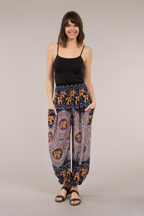Elasticized Waist Printed Pants