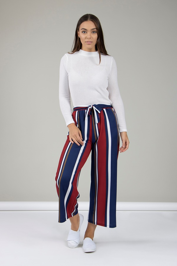 STRIPED TIE WAIST TROUSERS