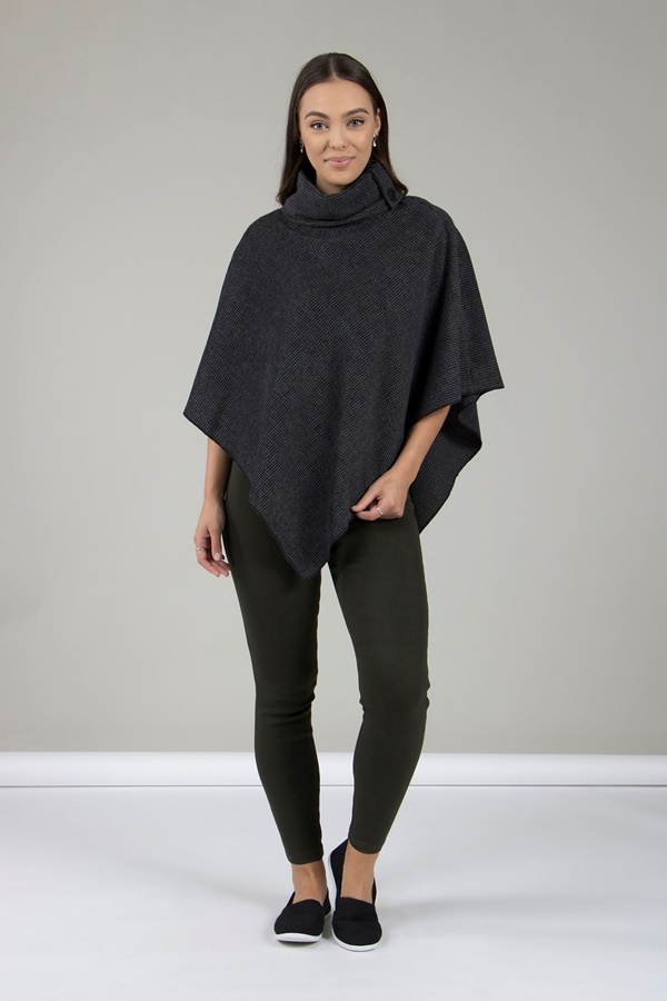 Tweed Roll-Neck Cape