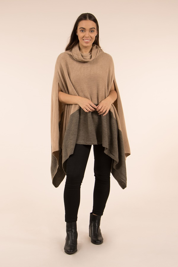 Colour Block Poncho