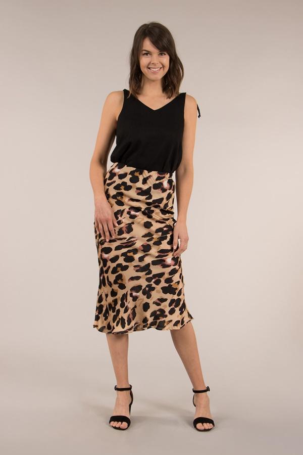 Animal Print Midi Skirt