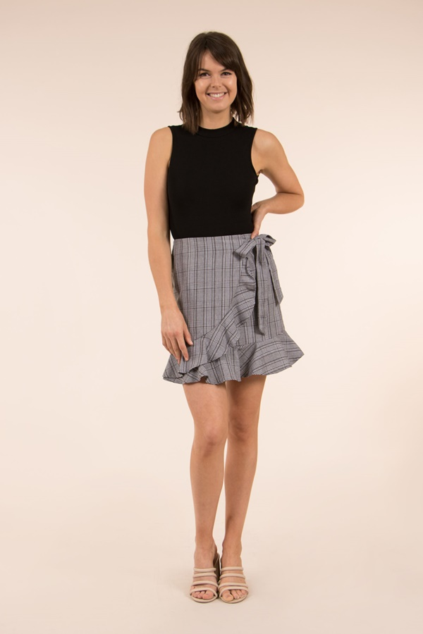 Ruffle Hem Mini Skirt