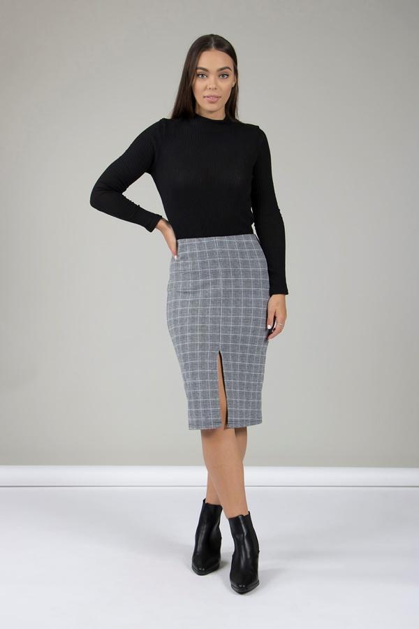 Check Print Pencil Skirt